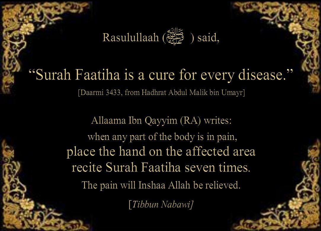 Surah Fatihaa cure